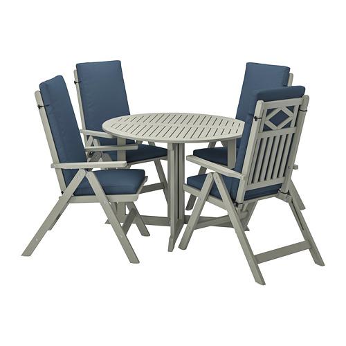 BONDHOLMEN - table+4 reclining chairs, outdoor, grey stained/Frösön/Duvholmen blue | IKEA Hong Kong and Macau - PE807538_S4