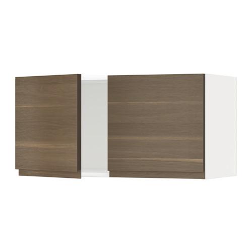 METOD - wall cabinet with 2 doors, white/Voxtorp walnut effect | IKEA Hong Kong and Macau - PE545018_S4