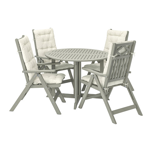 BONDHOLMEN - table+4 reclining chairs, outdoor, grey stained/Kuddarna beige | IKEA Hong Kong and Macau - PE807559_S4