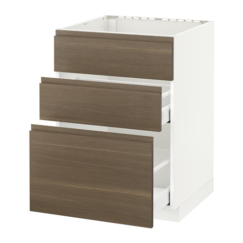 METOD/MAXIMERA - base cab f sink+3 fronts/2 drawers, white/Voxtorp walnut effect | IKEA Hong Kong and Macau - PE545044_S4