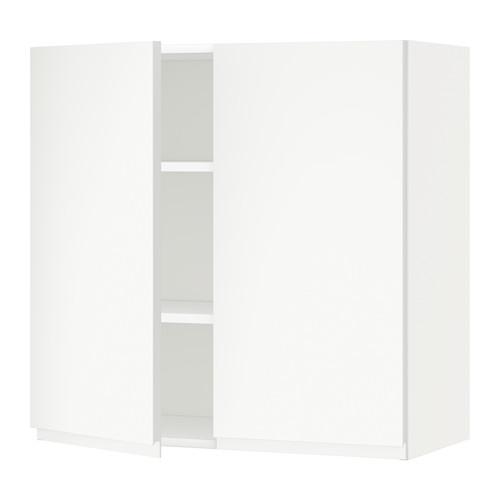 METOD - 吊櫃連層板/雙門, white/Voxtorp matt white | IKEA 香港及澳門 - PE545064_S4