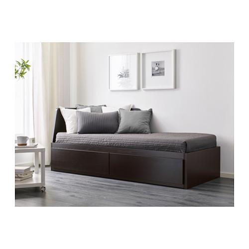 FLEKKE - 日間床連2抽屜及2床褥, 棕黑色/Malfors 高度承托   IKEA 香港及澳門 - PE608743_S4