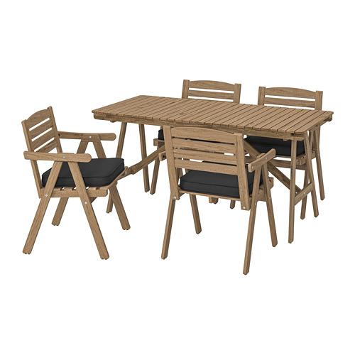 FALHOLMEN - 戶外檯連扶手椅組合, light brown stained/Järpön/Duvholmen anthracite   IKEA 香港及澳門 - PE807650_S4
