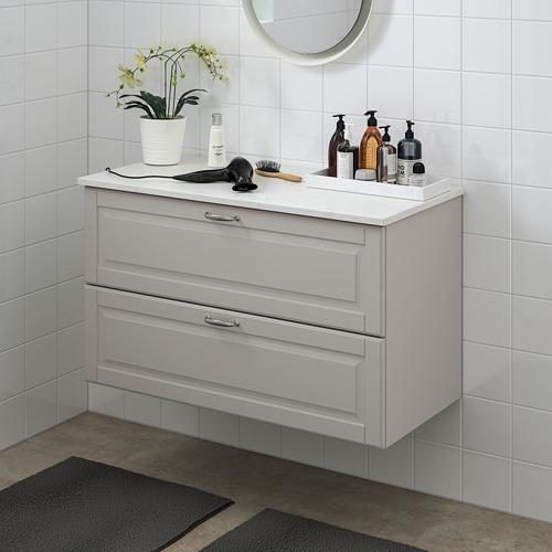 TOLKEN/GODMORGON - 雙抽屜洗手盆櫃, Kasjön light grey/marble effect   IKEA 香港及澳門 - PE718156_S4