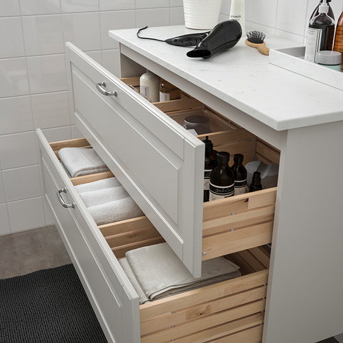 TOLKEN/GODMORGON - 雙抽屜洗手盆櫃, Kasjön light grey/marble effect   IKEA 香港及澳門 - PE718158_S4