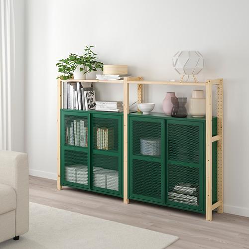 IVAR - 2 sections/shelves/cabinets, pine/green mesh | IKEA Hong Kong and Macau - PE807745_S4