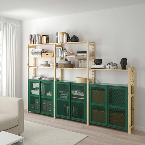 IVAR - 3 sections/shelves/cabinet, pine/green mesh | IKEA Hong Kong and Macau - PE807746_S4