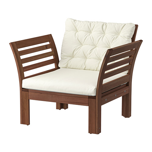 ÄPPLARÖ - armchair, outdoor, brown stained/Kuddarna beige | IKEA Hong Kong and Macau - PE807781_S4