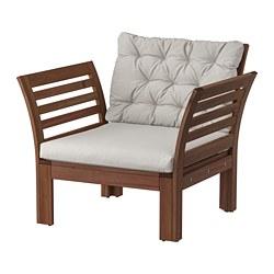 ÄPPLARÖ - armchair, outdoor, brown stained/Kuddarna grey   IKEA Hong Kong and Macau - PE807782_S3