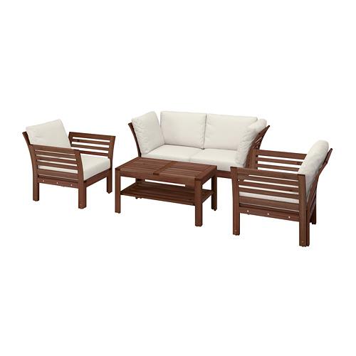 ÄPPLARÖ - 4-seat conversation set, outdoor, brown stained/Frösön/Duvholmen beige | IKEA Hong Kong and Macau - PE807777_S4