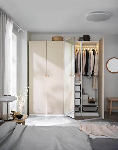 PAX/REINSVOLL/VIKEDAL - 衣櫃組合, 白色/灰米黃色 鏡面玻璃   IKEA 香港及澳門 - PH171603_S4