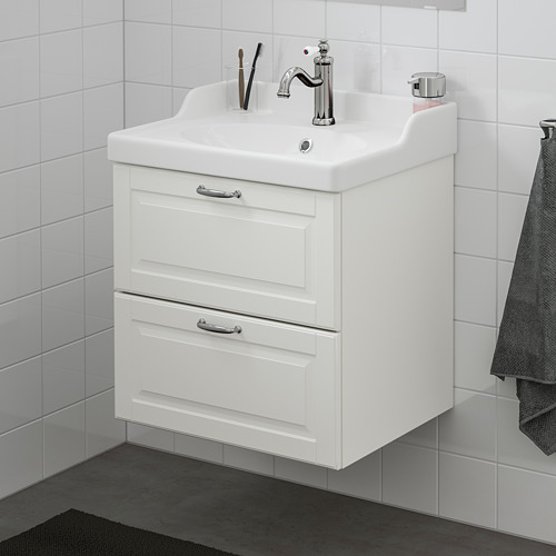 GODMORGON/RÄTTVIKEN - 雙抽屜洗手盆櫃, Kasjön white/Hamnskär tap | IKEA 香港及澳門 - PE661033_S4