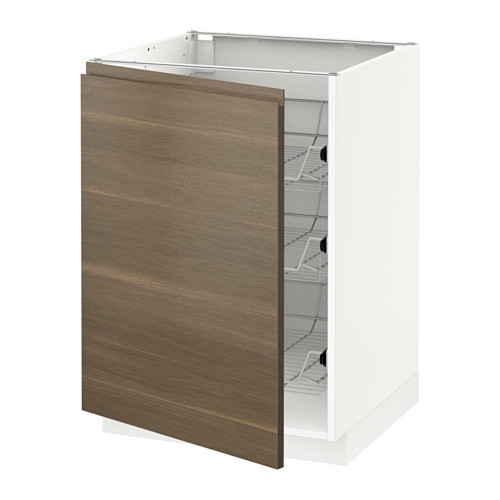 METOD - base cabinet with wire baskets, white/Voxtorp walnut effect | IKEA Hong Kong and Macau - PE545666_S4