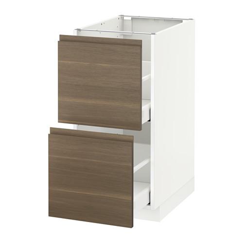 METOD - base cb 2 fronts/2 high drawers, white Maximera/Voxtorp walnut   IKEA Hong Kong and Macau - PE545693_S4