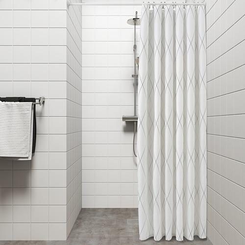 BASTSJÖN - 浴簾, 白色/灰色/米黃色   IKEA 香港及澳門 - PE751854_S4