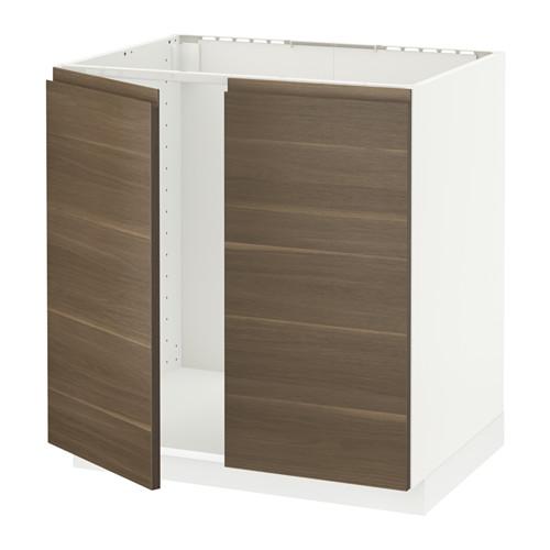 METOD - 星盆用地櫃連一對門, white/Voxtorp walnut effect | IKEA 香港及澳門 - PE545927_S4