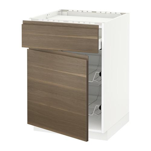 METOD/MAXIMERA - base cab f hob/drawer/2 wire bskts, white/Voxtorp walnut effect | IKEA Hong Kong and Macau - PE545932_S4