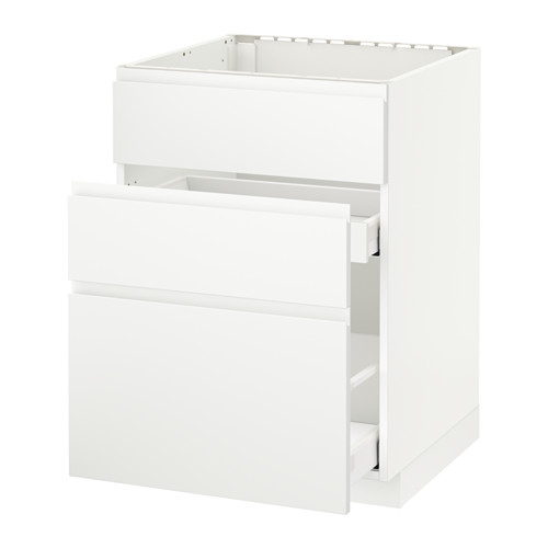 METOD/MAXIMERA - 星盆用地櫃連3面板/2抽屜, white/Voxtorp matt white | IKEA 香港及澳門 - PE545941_S4
