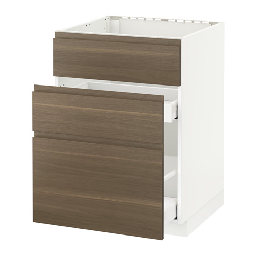 METOD/MAXIMERA - base cab f sink+3 fronts/2 drawers, white/Voxtorp walnut effect | IKEA Hong Kong and Macau - PE545956_S4
