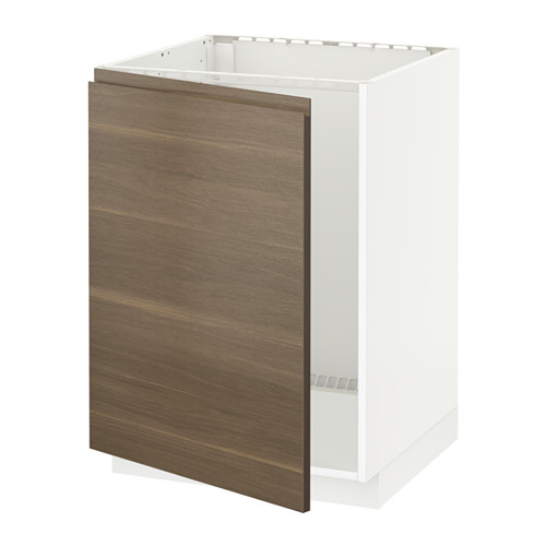METOD - base cabinet for sink, white/Voxtorp walnut effect | IKEA Hong Kong and Macau - PE545968_S4