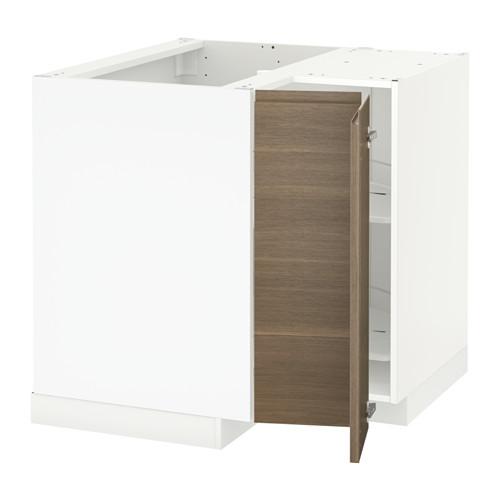 METOD - corner base cabinet with carousel, white/Voxtorp walnut effect | IKEA 香港及澳門 - PE546008_S4