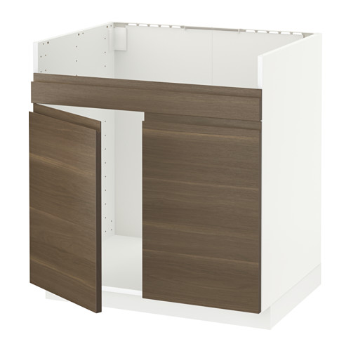 METOD - base cab f HAVSEN double bowl sink, white/Voxtorp walnut effect | IKEA Hong Kong and Macau - PE546048_S4