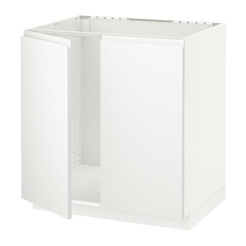 METOD - base cabinet for sink + 2 doors, white/Voxtorp matt white | IKEA Hong Kong and Macau - PE546054_S4