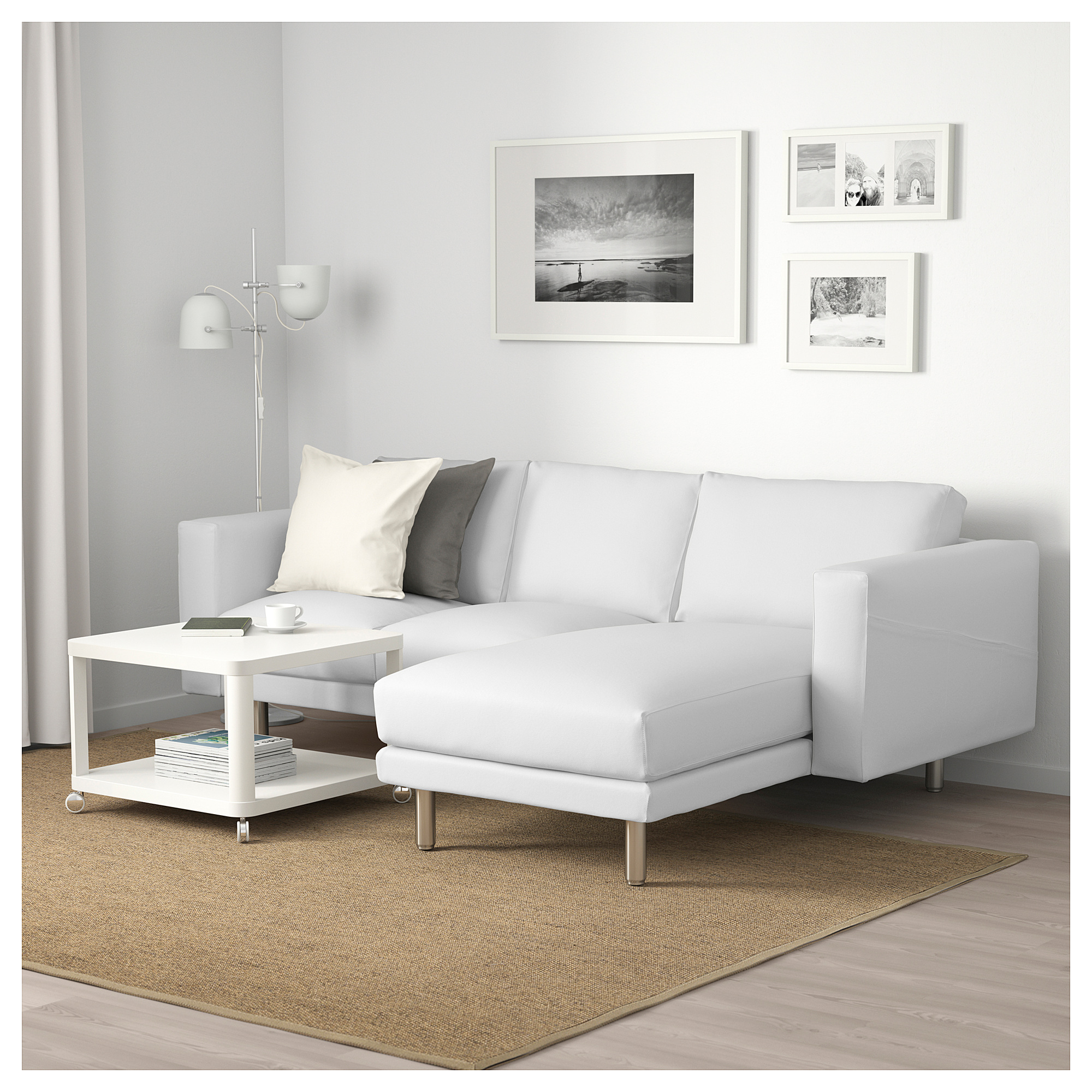 Fine Norsborg 3 Seat Sofa With Chaise Longue Finnsta White Machost Co Dining Chair Design Ideas Machostcouk