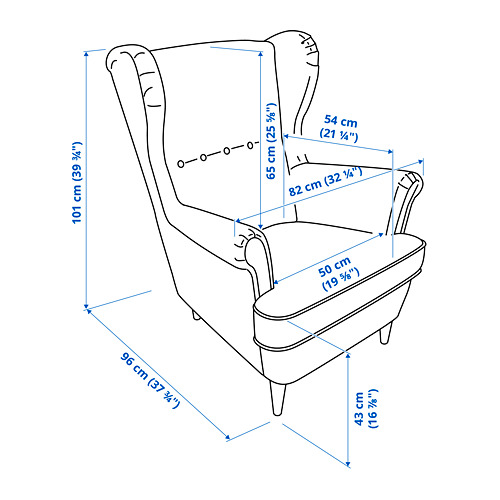 STRANDMON - 扶手椅, Kvillsfors 深藍色/藍色 | IKEA 香港及澳門 - PE808498_S4