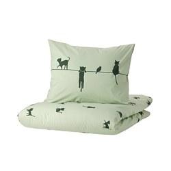 BARNDRÖM - 被套枕袋套裝, 貓/綠色   IKEA 香港及澳門 - PE808486_S3