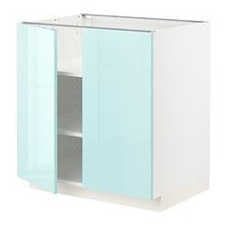 METOD - 地櫃連層板/一對門, 白色 Järsta/光面 淺湖水綠色   IKEA 香港及澳門 - PE808609_S3
