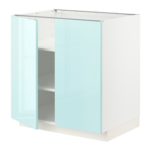 METOD - base cabinet with shelves/2 doors, white Järsta/high-gloss light turquoise | IKEA Hong Kong and Macau - PE808609_S4