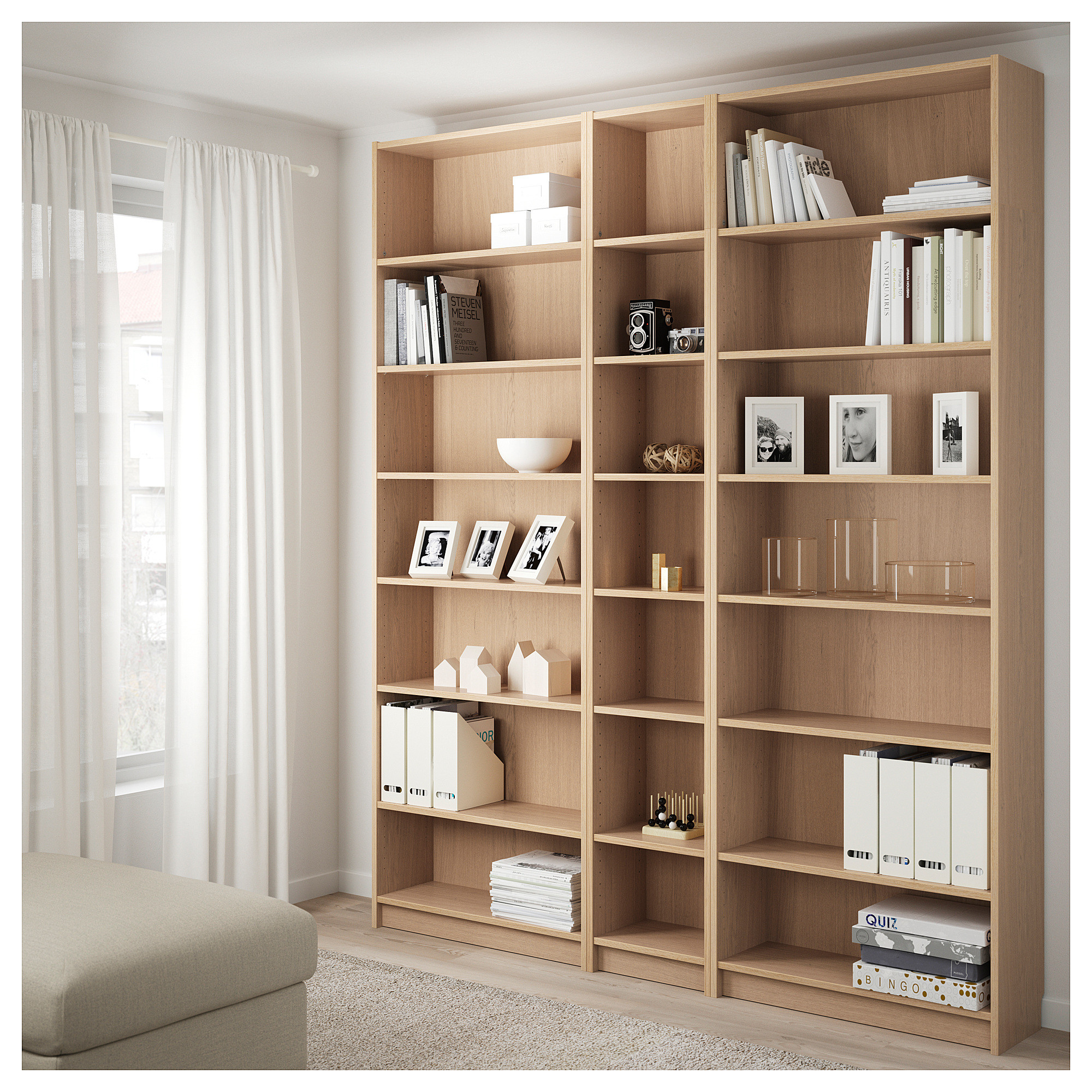 Billy Bookcase W Height Extension Units White Stained Oak