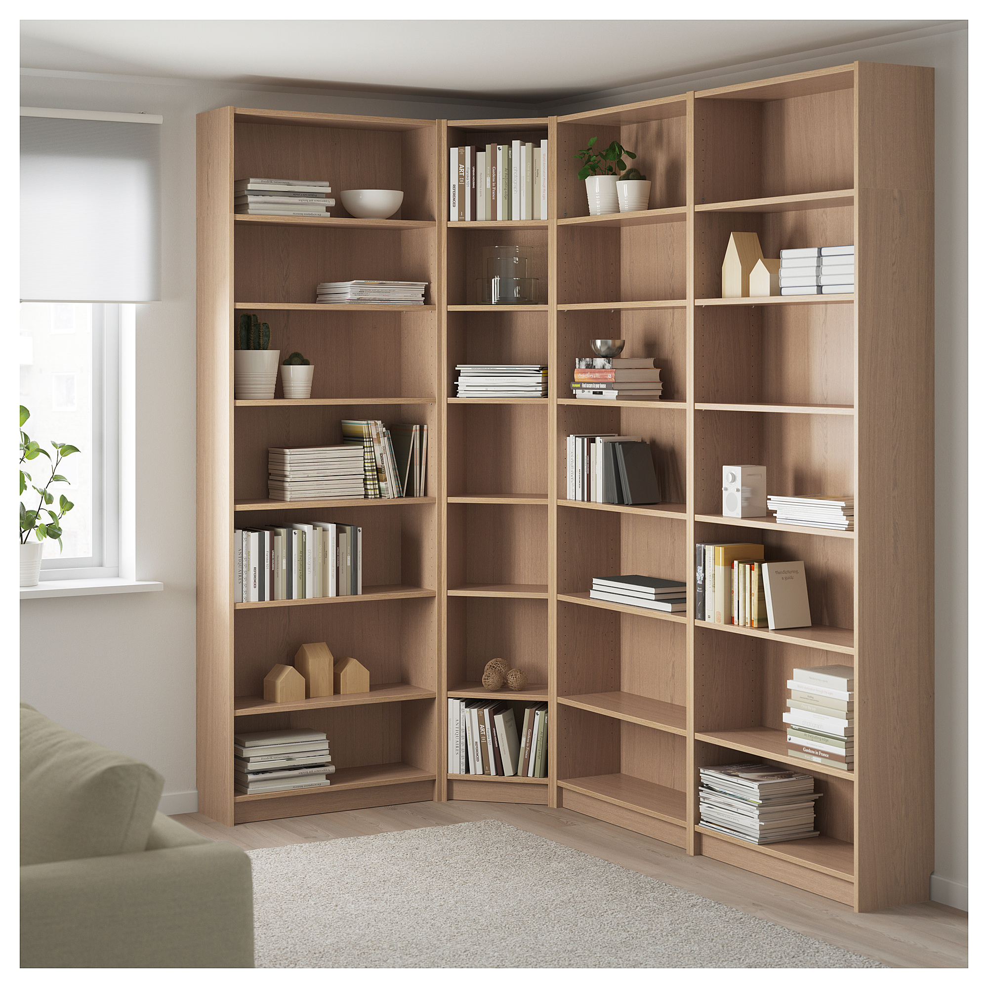 Billy Bookcase Combination Crnr Solution White Stained
