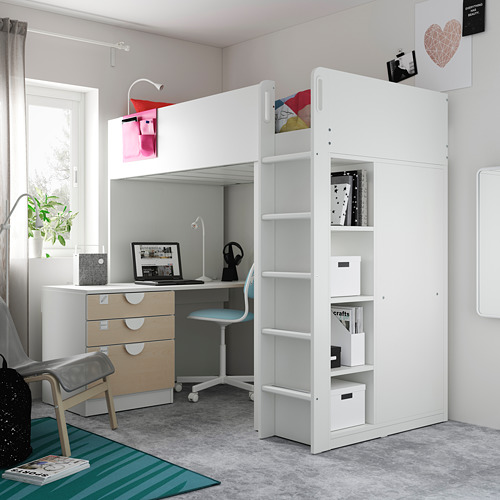 SMÅSTAD - loft bed, white birch/with desk with 4 drawers | IKEA Hong Kong and Macau - PE809363_S4