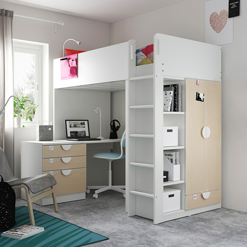 SMÅSTAD - loft bed, white birch/with desk with 4 drawers | IKEA Hong Kong and Macau - PE809364_S4