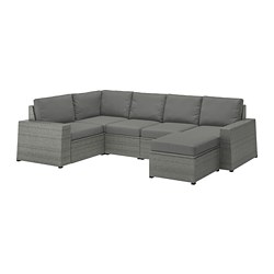 SOLLERÖN - modular corner sofa 4-seat, outdoor, with footstool dark grey/Frösön/Duvholmen dark grey | IKEA Hong Kong and Macau - PE713450_S3