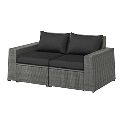 SOLLERÖN - 2-seat modular sofa, outdoor, dark grey/Hållö black | IKEA Hong Kong and Macau - PE713491_S3