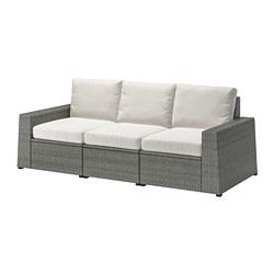 SOLLERÖN - 3-seat modular sofa, outdoor, dark grey/Frösön/Duvholmen beige | IKEA Hong Kong and Macau - PE713494_S3