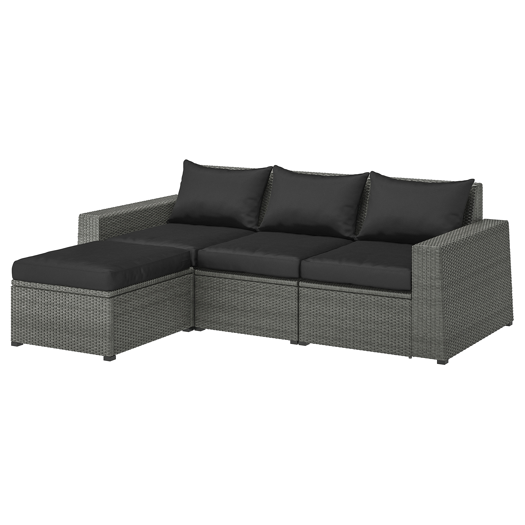 SOLLERÖN, 7-seat modular sofa, outdoor, with footstool dark grey/Hållö black