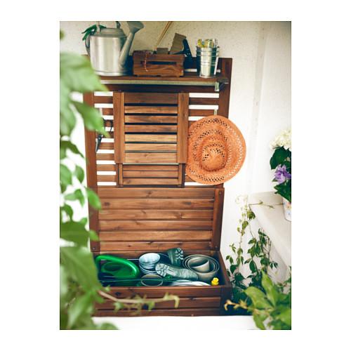 ÄPPLARÖ - bench w wall panel+ shelf, outdoor, brown stained | IKEA Hong Kong and Macau - PE303114_S4