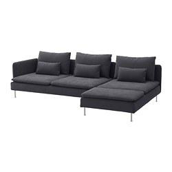 SÖDERHAMN - 4-seat sofa, with chaise longue and open end/Samsta dark grey   IKEA Hong Kong and Macau - PE713545_S3