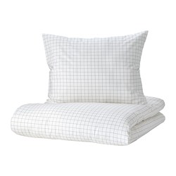 VÄNKRETS - quilt cover and pillowcase, check pattern white/yellow | IKEA Hong Kong and Macau - PE809787_S3