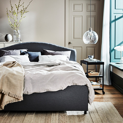 HAUGA - upholstered bed frame, Vissle grey, DOUBLE | IKEA Hong Kong and Macau - PH175119_S4