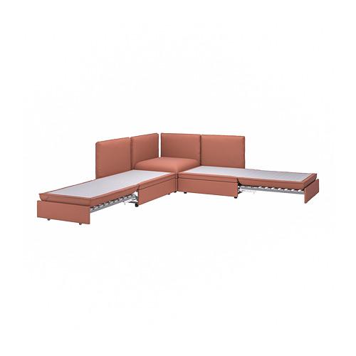VALLENTUNA - modular crnr sofa 3-seat+2 sofa-bed, and storage/Kelinge rust | IKEA Hong Kong and Macau - PE809850_S4