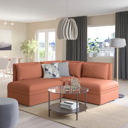 VALLENTUNA - modular crnr sofa 3-seat+2 sofa-bed, and storage/Kelinge rust | IKEA Hong Kong and Macau - PE809852_S4