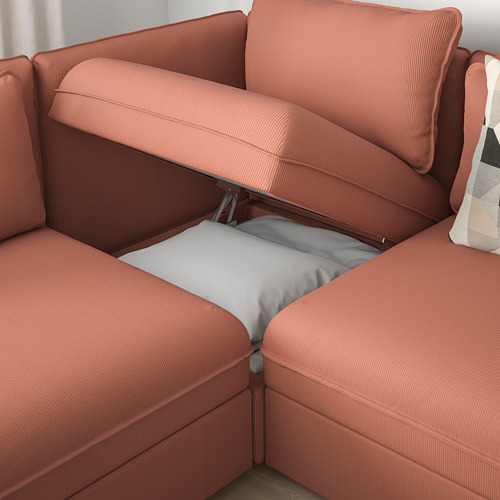 VALLENTUNA - modular crnr sofa 3-seat+2 sofa-bed, and storage/Kelinge rust | IKEA Hong Kong and Macau - PE809851_S4