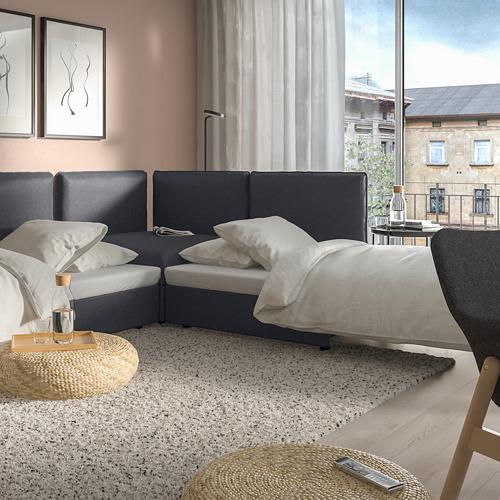 VALLENTUNA 3座位角位組合式梳化連2張梳化床, 連貯物/hillared 深灰色