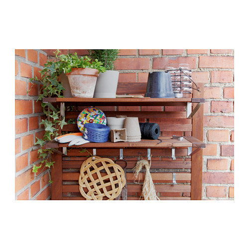 ÄPPLARÖ - 戶外長凳連牆架層板組合, 染褐色 | IKEA 香港及澳門 - PE316926_S4
