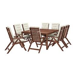 ÄPPLARÖ - 戶外檯連躺椅組合, 染褐色/Kuddarna 米黃色   IKEA 香港及澳門 - PE713653_S3